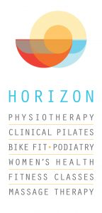 horizon physiotherapy clinical pilates bike fit podiatry womens health fitness classes massage therapy logo